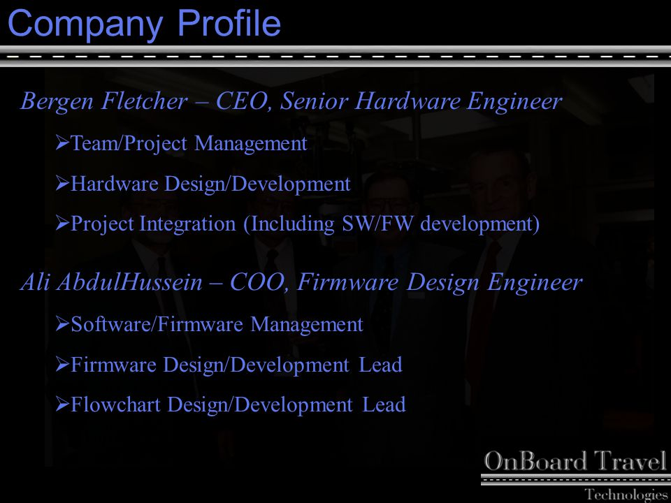 4 Company Profile Patrick Perrella – CFO, Software Design Engineer  Finance Management  Software Design/Development  Firmware Design/Development Lena Lee – Director of QA, User-Interface Design Engineer  Test-Plan Development  Graphical User Interface Design/Development