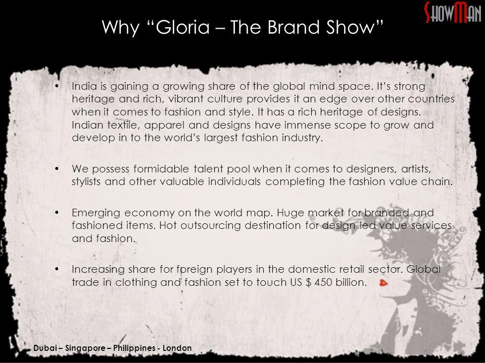 Dubai – Singapore – Philippines - London Presenting Sponsor Mileage Pre-Event Promotion Campaign: Logo Presence on as presenter of the show :  Print Advertisements  Email Blast  Press Kit.