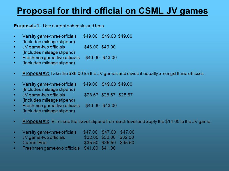 Proposal for third official on CSML JV games Proposal #1: Use current schedule and fees.