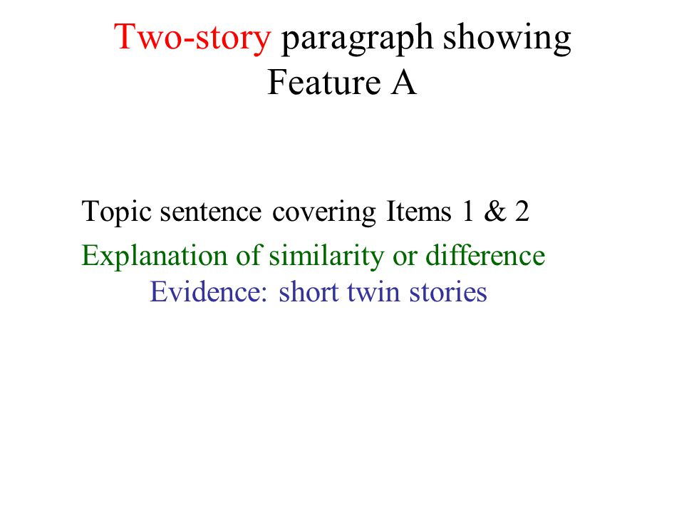 Two-story paragraph showing Feature A Topic sentence covering Items 1 & 2 Explanation of similarity or difference Evidence: short twin stories