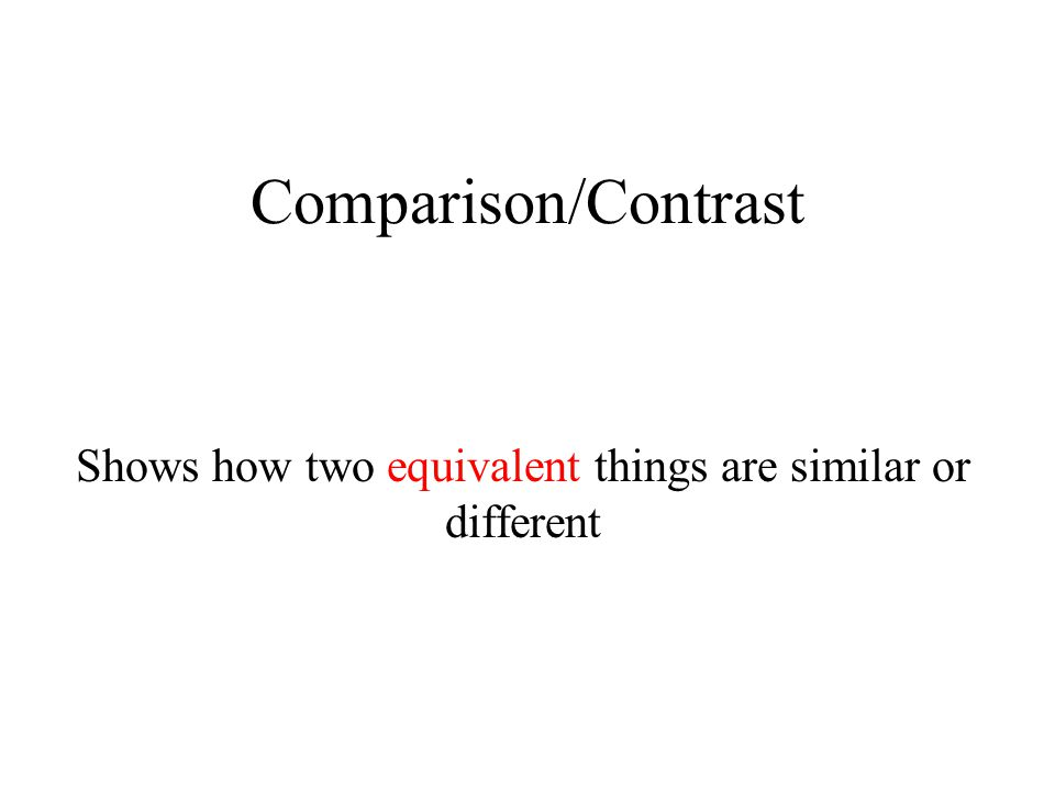 Comparison/Contrast Shows how two equivalent things are similar or different