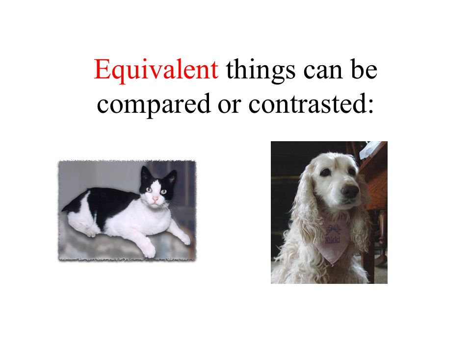 Equivalent things can be compared or contrasted: