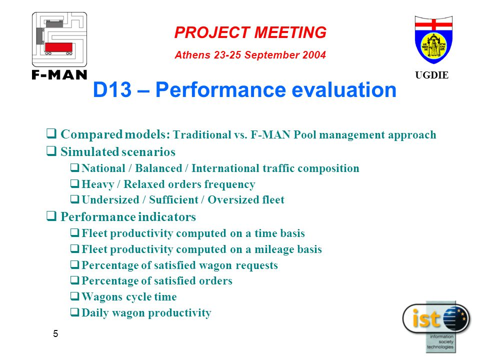 UGDIE PROJECT MEETING Athens 23-25 September 2004 5 D13 – Performance evaluation  Compared models: Traditional vs.