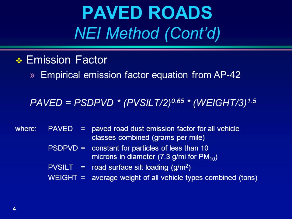 15 UNPAVED ROADS NEI Method (Cont'd)  Non-local functional classes including: »Rural minor collector, rural major collector, rural minor arterial, rural other principal arterial, urban collector, urban minor arterial, and urban other principal arterial »ADTV not available for non-local roads, estimated from local urban and rural VMT and mileage: