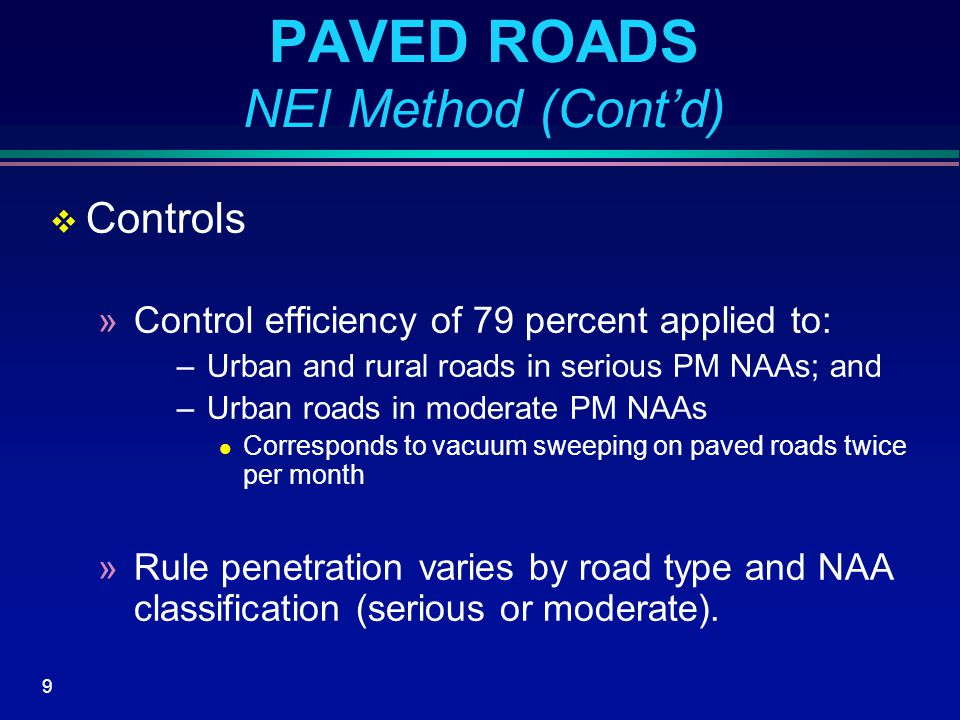 20 UNPAVED ROADS Revisions to AP-42 Equation  EPA posted revisions to AP-42 Unpaved Roads Emission Factor Equation in December 2003  New version of the emission factor equation only estimates PM emissions from resuspended road surface material  PM emissions from vehicle exhaust, brake wear, and tire wear are now estimated separately using EPA's MOBILE6.2  Vehicle exhaust, brake wear, and tire wear component relatively much less for unpaved roads than paved roads