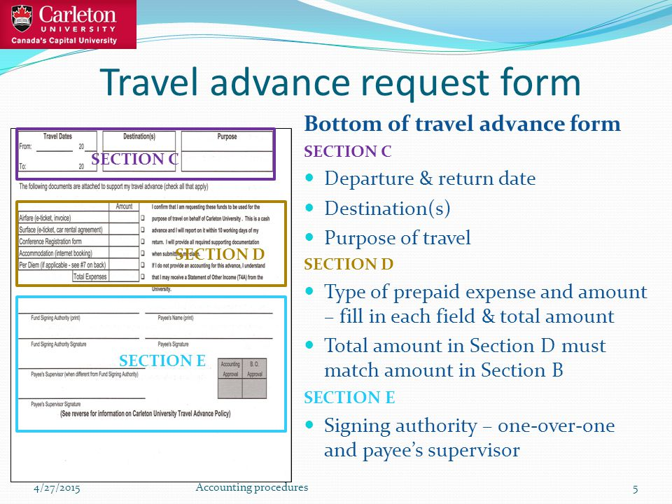 Travel advance request form Bottom of travel advance form SECTION C Departure & return date Destination(s) Purpose of travel SECTION D Type of prepaid expense and amount – fill in each field & total amount Total amount in Section D must match amount in Section B SECTION E Signing authority – one-over-one and payee's supervisor 4/27/2015Accounting procedures5 SECTION C SECTION D SECTION E