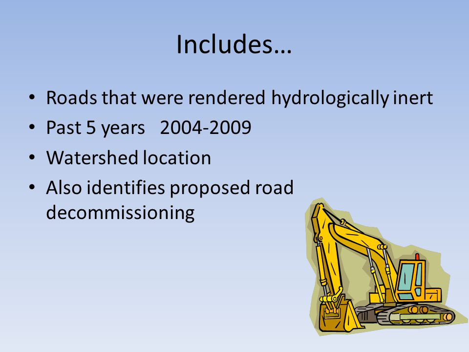 Includes… Roads that were rendered hydrologically inert Past 5 years 2004-2009 Watershed location Also identifies proposed road decommissioning