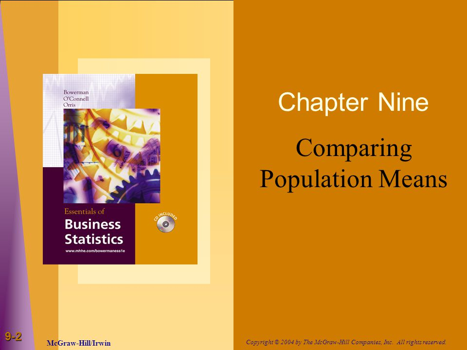 9-2 Chapter Nine Comparing Population Means McGraw-Hill/Irwin Copyright © 2004 by The McGraw-Hill Companies, Inc.