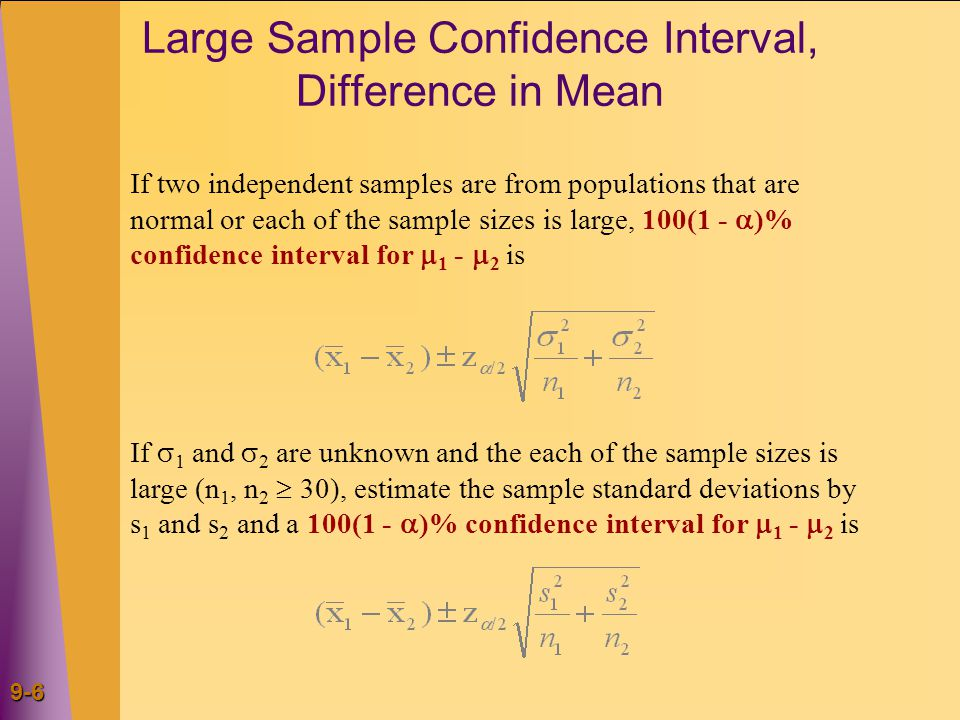 9-17 Large Sample Test for Difference in Proportions Test Statistics If two sampled populations are both large, we can reject H 0 : p 1 - p 2 = D 0 at the  level of significance if and only if the appropriate rejection point condition holds or, equivalently, if the corresponding p-value is less than .
