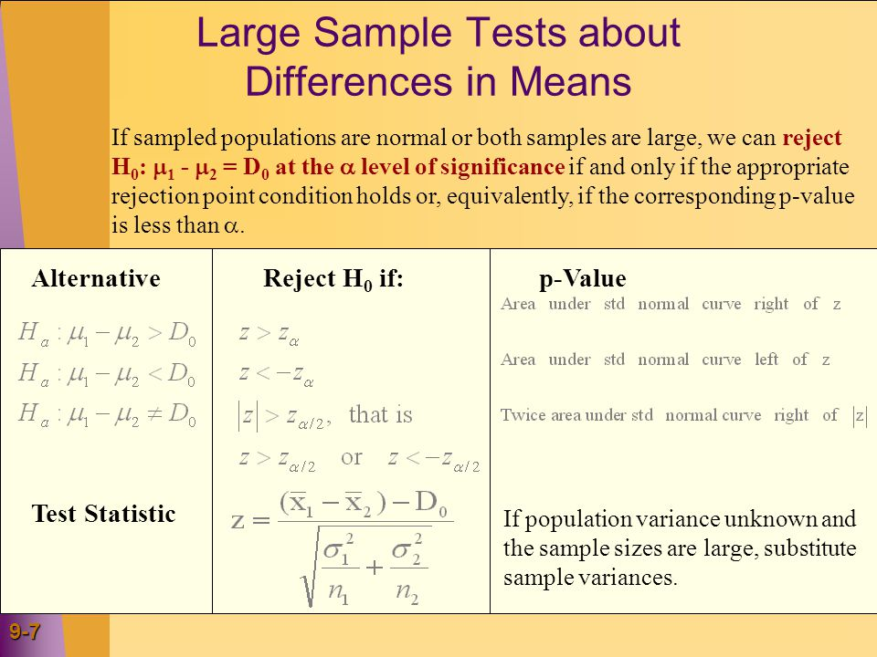 9-7 Large Sample Tests about Differences in Means Test Statistic If sampled populations are normal or both samples are large, we can reject H 0 :  1 -  2 = D 0 at the  level of significance if and only if the appropriate rejection point condition holds or, equivalently, if the corresponding p-value is less than .