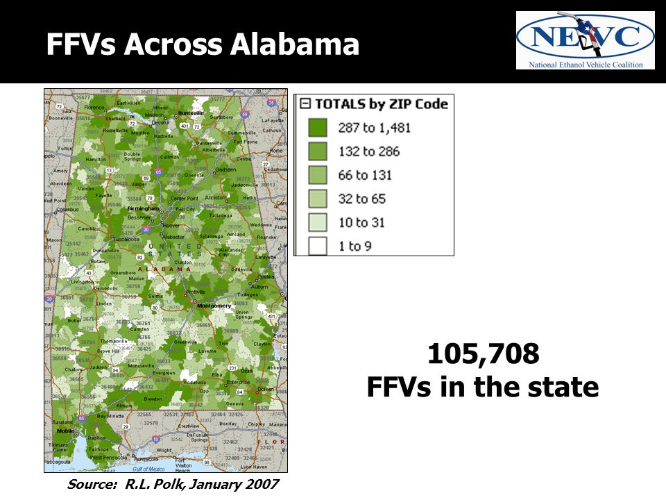 FFVs Across Alabama 105,708 FFVs in the state Source: R.L. Polk, January 2007