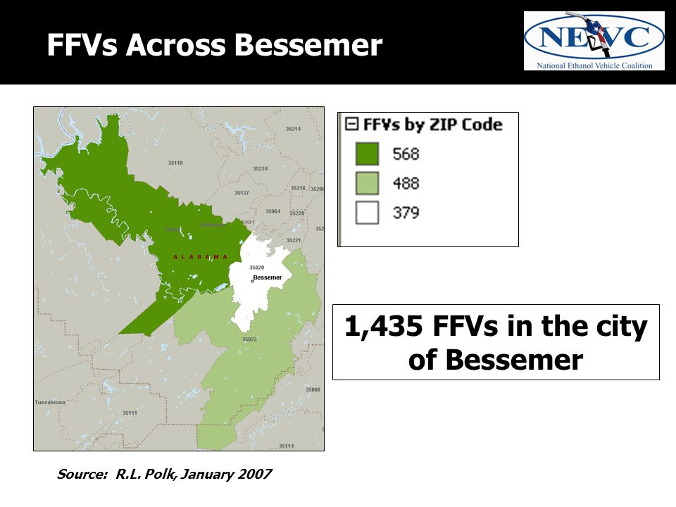 FFVs Across Bessemer Source: R.L. Polk, January 2007 1,435 FFVs in the city of Bessemer