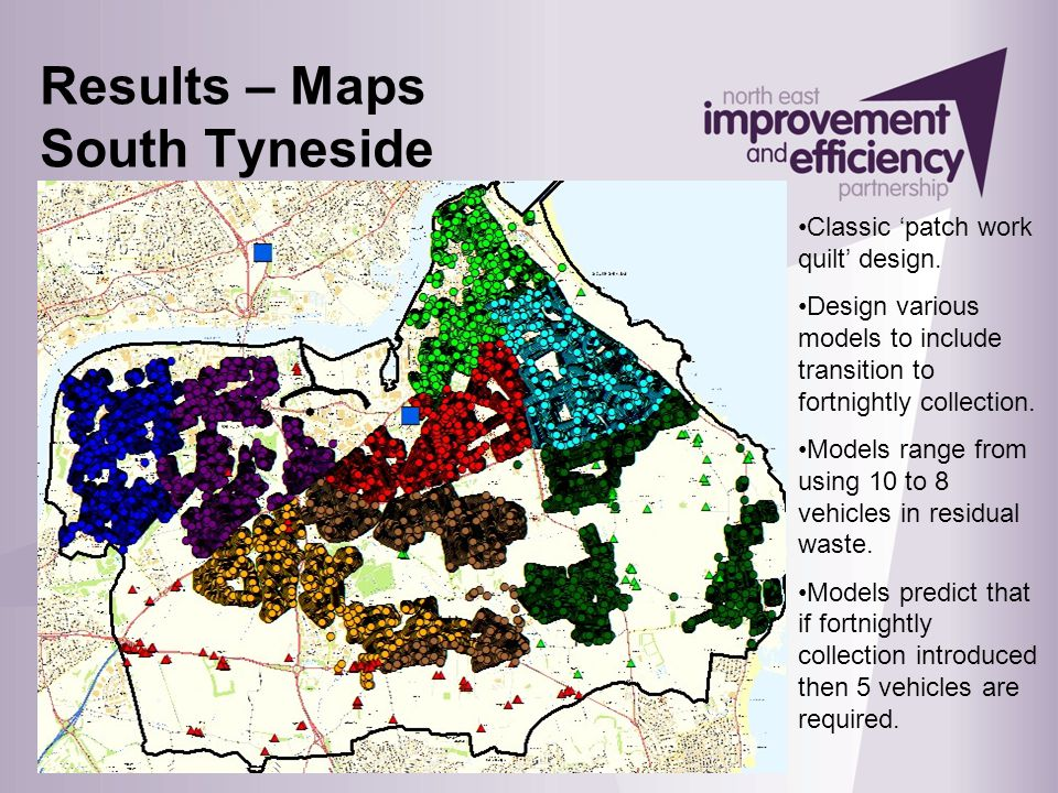 Results – Maps South Tyneside Classic 'patch work quilt' design. Design various models to include transition to fortnightly collection. Models range f