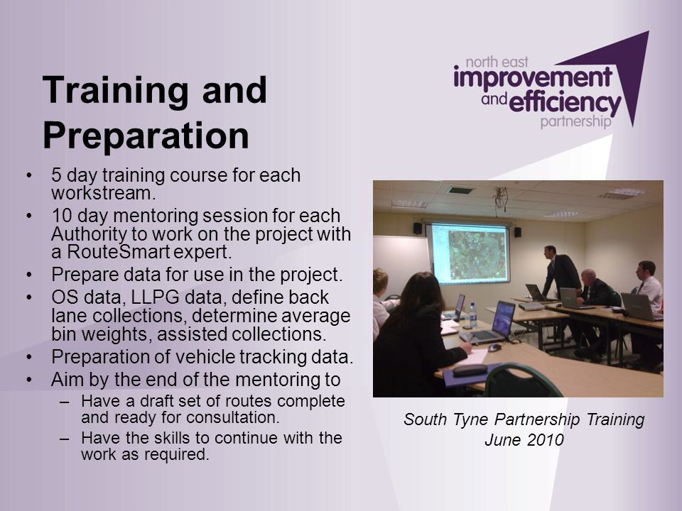 Training and Preparation 5 day training course for each workstream.