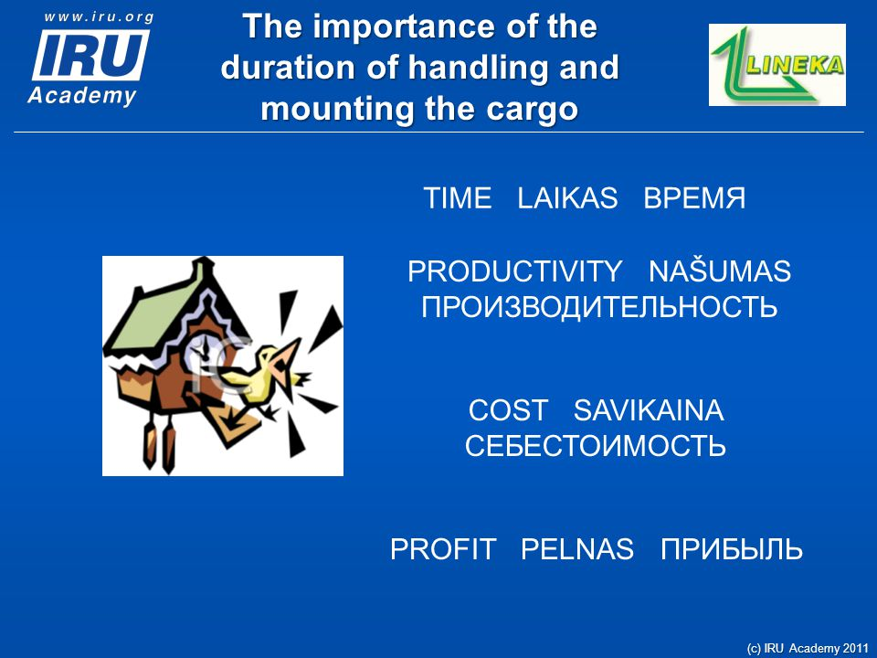 The importance of the duration of handling and mounting the cargo (c) IRU Academy 2011 TIME LAIKAS ВРЕМЯ PRODUCTIVITY NAŠUMAS ПРОИЗВОДИТЕЛЬНОСТЬ COST
