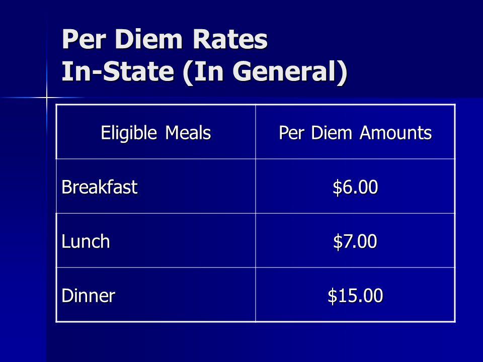 Per Diem Rates In-State (In General) Eligible Meals Per Diem Amounts Breakfast$6.00 Lunch$7.00 Dinner$15.00