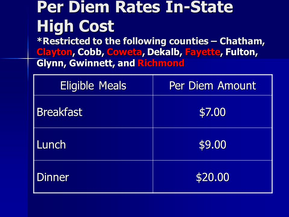 Per Diem Rates In-State High Cost *Restricted to the following counties – Chatham, Clayton, Cobb, Coweta, Dekalb, Fayette, Fulton, Glynn, Gwinnett, an