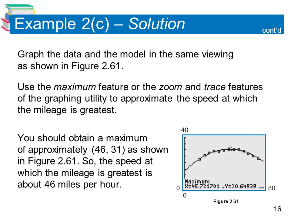 16 Example 2(c) – Solution cont'd Graph the data and the model in the same viewing as shown in Figure 2.61.