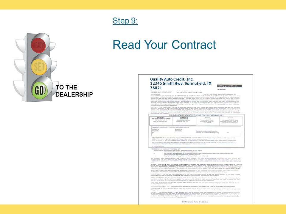 Read Your Contract Quality Auto Credit, Inc. 12345 Smith Hwy, Springfield, TX 76021 TO THE DEALERSHIP Step 9: