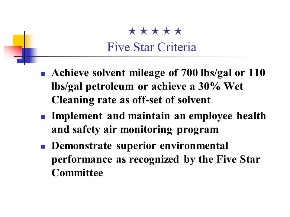  Five Star Criteria Achieve solvent mileage of 700 lbs/gal or 110 lbs/gal petroleum or achieve a 30% Wet Cleaning rate as off-set of solvent Implement and maintain an employee health and safety air monitoring program Demonstrate superior environmental performance as recognized by the Five Star Committee