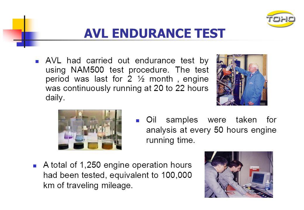TOHO invested more than US$500,000 on AVL endurance test. The endurance test used a LIEBHERR heavy-duty diesel engine ( 9,960cc). AVL ENDURANCE TEST