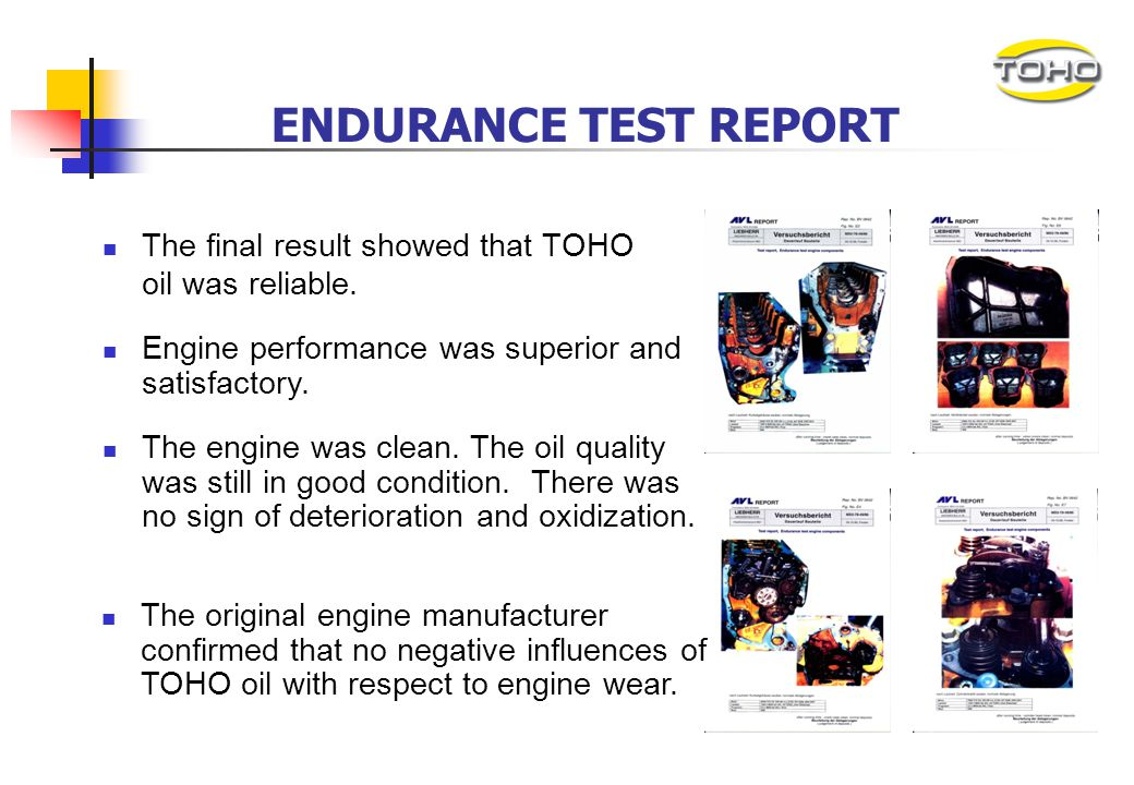 WEAR AND TEAR TEST After 1,250 hours of endurance test, the engine was being dismantled and sent for examination. AVL had examined all the internal pa