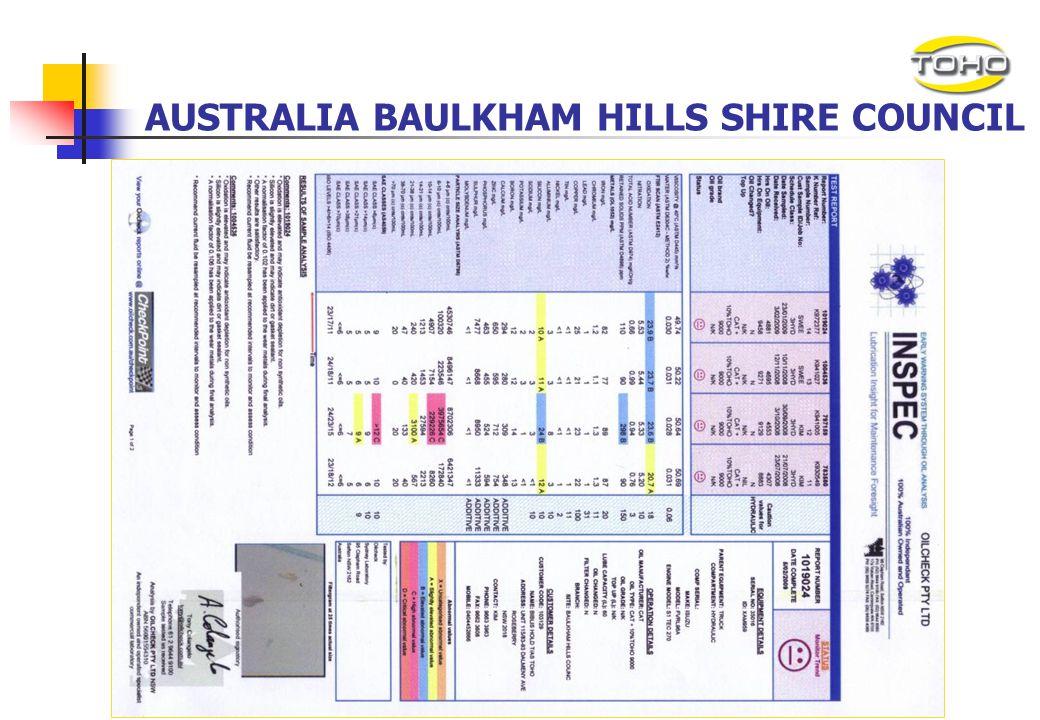 AUSTRALIA BAULKHAM HILLS SHIRE COUNCIL Australia Baulkham Hills Shire Council had been using normal hydraulic oil on its Isuzu garbage truck for more