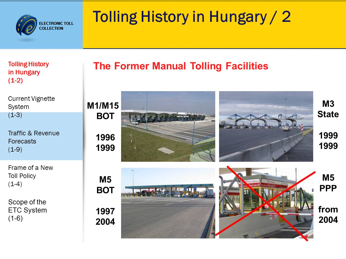 Tolling History in Hungary / 2 The Former Manual Tolling Facilities M1/M15 BOT 1996 1999 M5 BOT 1997 2004 M3 State 1999 1999 M5 PPP from 2004 Tolling History in Hungary (1-2) Current Vignette System (1-3) Traffic & Revenue Forecasts (1-9) Frame of a New Toll Policy (1-4) Scope of the ETC System (1-6)