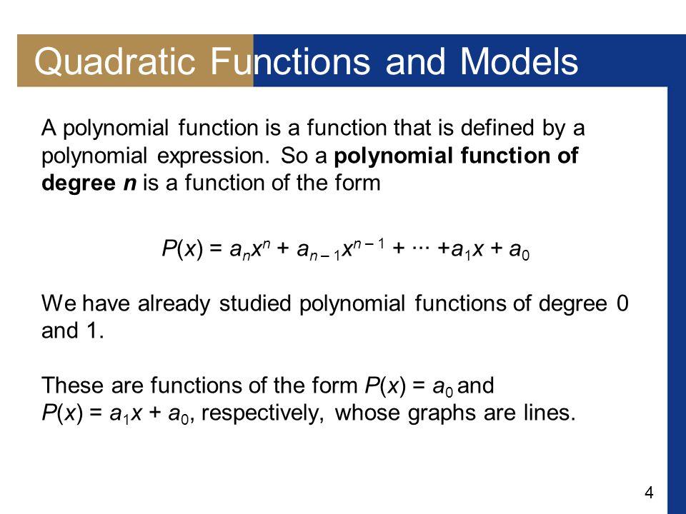 15 Example 2 – Minimum Value of a Quadratic Function Consider the quadratic function f (x) = 5x 2 – 30x + 49.
