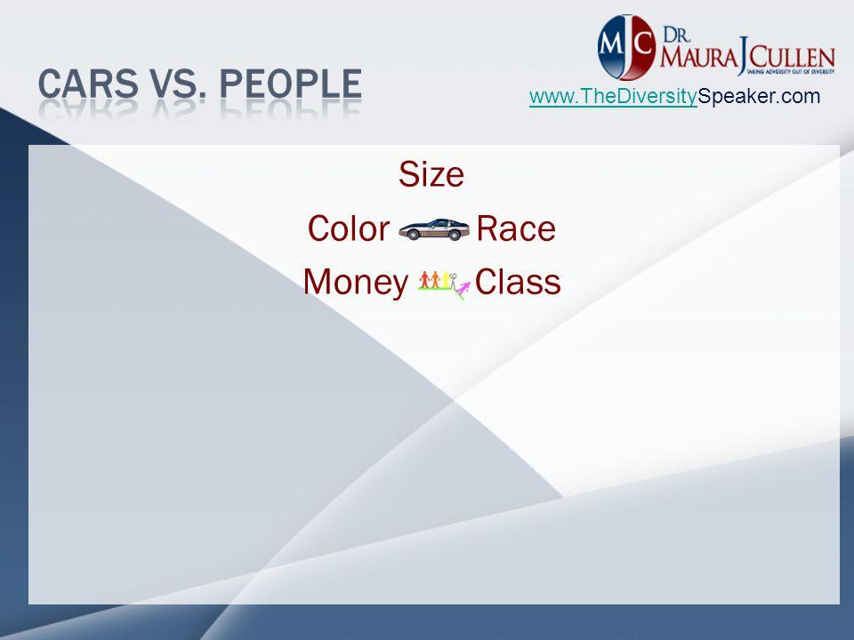 www.TheDiversitywww.TheDiversitySpeaker.com Size Color Race Money Class