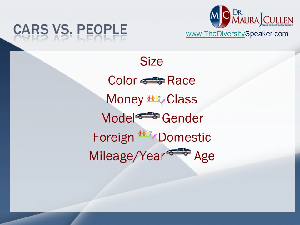 www.TheDiversitywww.TheDiversitySpeaker.com Size Color Race Money Class Model Gender Foreign Domestic Mileage/Year Age