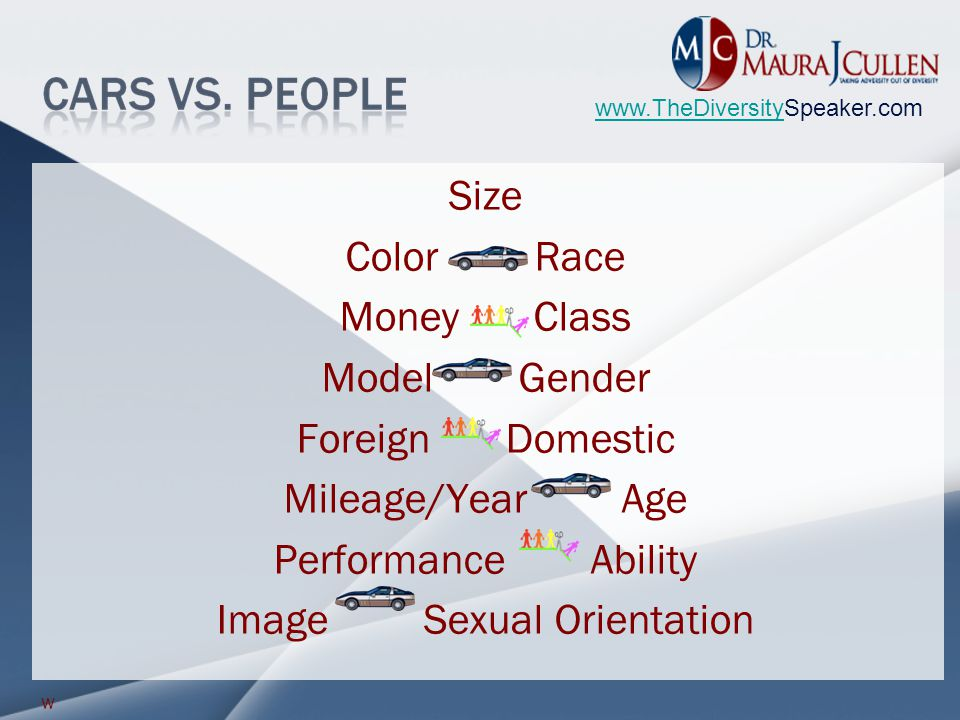 www.TheDiversitywww.TheDiversitySpeaker.com Size Color Race Money Class Model Gender Foreign Domestic Mileage/Year Age Performance Ability Image Sexual Orientation w