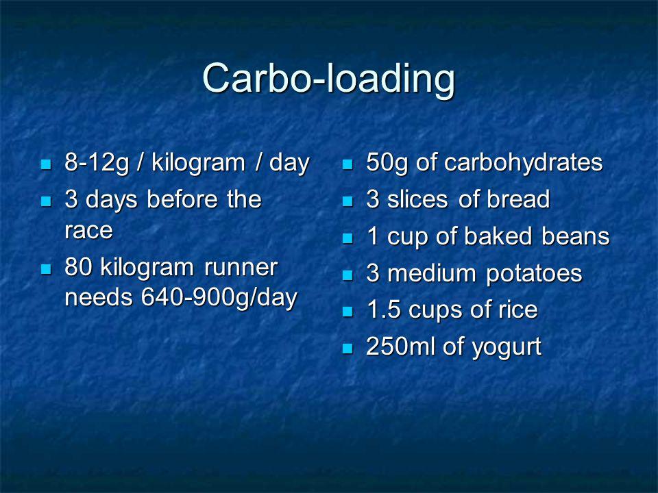 Carbo-loading 8-12g / kilogram / day 8-12g / kilogram / day 3 days before the race 3 days before the race 80 kilogram runner needs 640-900g/day 80 kilogram runner needs 640-900g/day 50g of carbohydrates 50g of carbohydrates 3 slices of bread 3 slices of bread 1 cup of baked beans 1 cup of baked beans 3 medium potatoes 3 medium potatoes 1.5 cups of rice 1.5 cups of rice 250ml of yogurt 250ml of yogurt