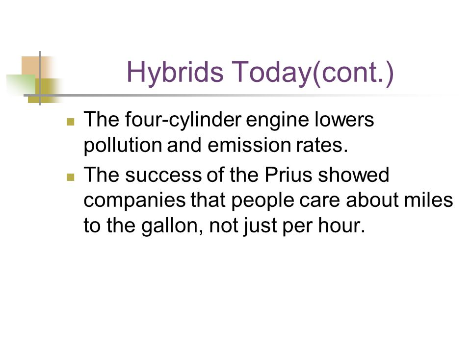 Hybrids Today(cont.) The four-cylinder engine lowers pollution and emission rates.