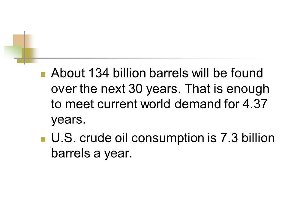 About 134 billion barrels will be found over the next 30 years.