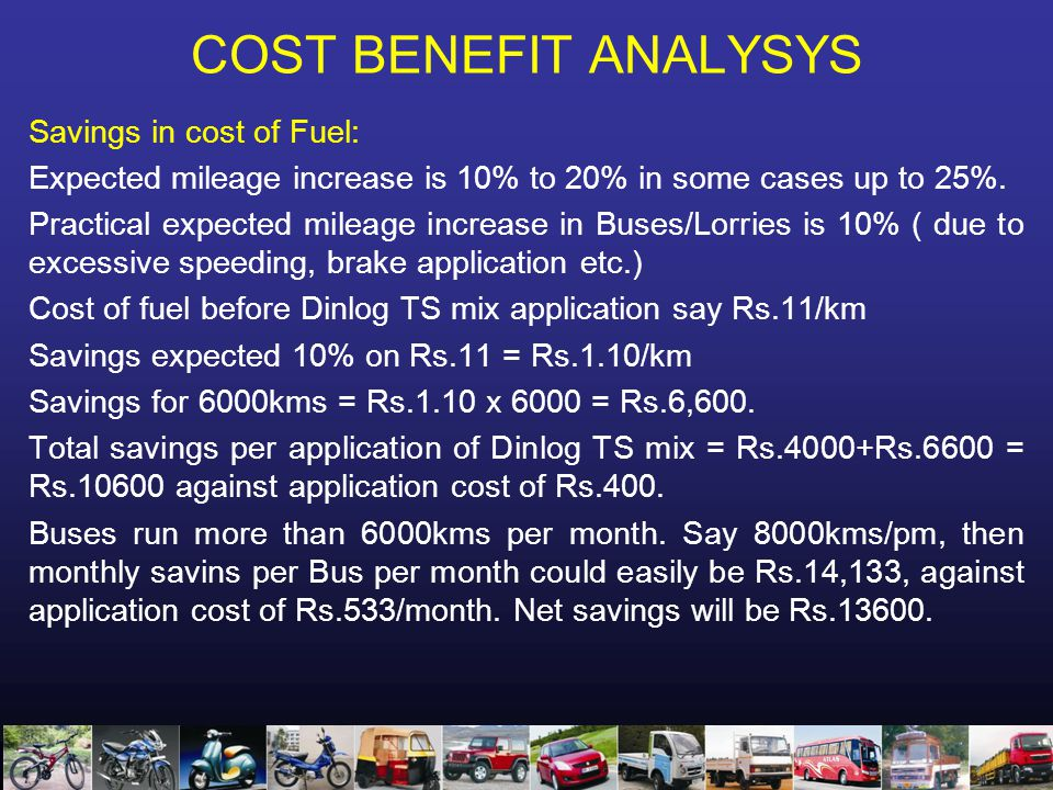COST BENEFIT ANALYSYS Savings in cost of Fuel: Expected mileage increase is 10% to 20% in some cases up to 25%.