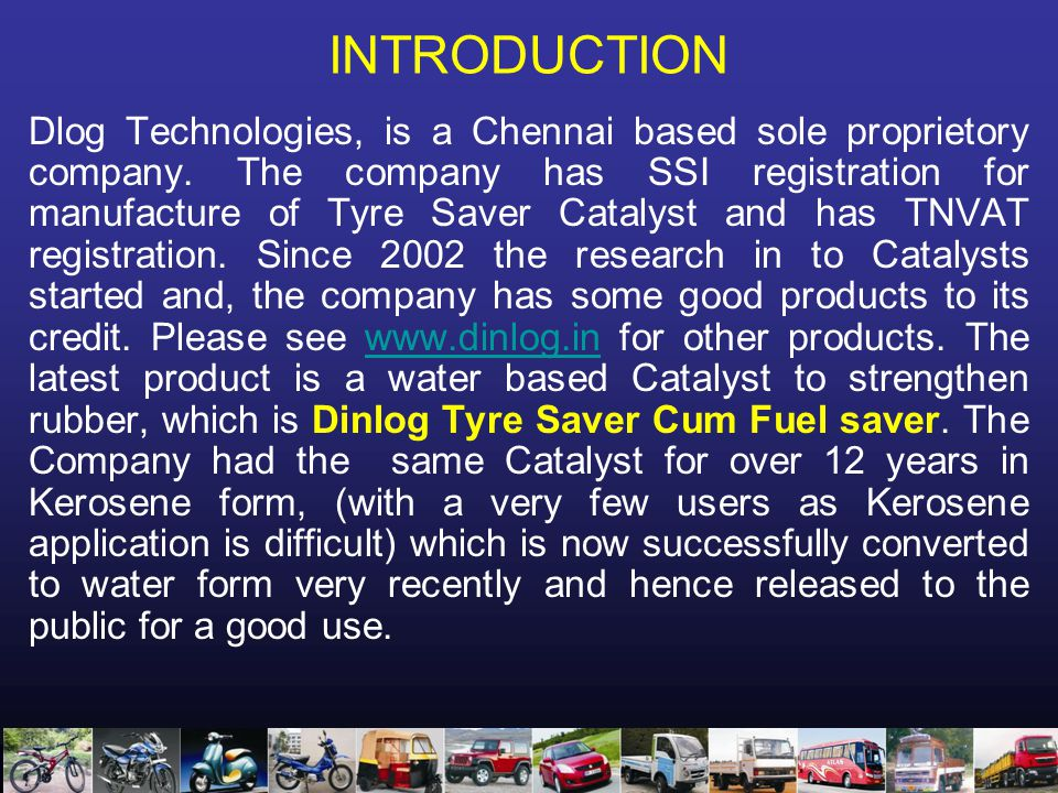 INTRODUCTION Dlog Technologies, is a Chennai based sole proprietory company.