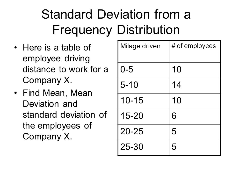 Standard Deviation from a Frequency Distribution Here is a table of employee driving distance to work for a Company X.
