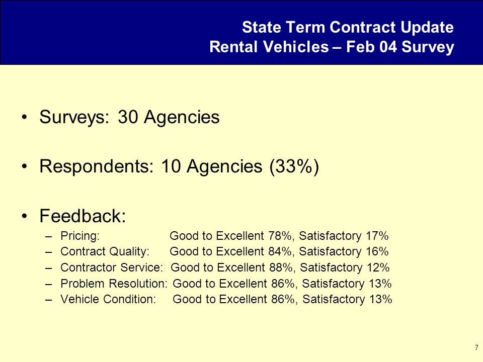7 State Term Contract Update Rental Vehicles – Feb 04 Survey Surveys: 30 Agencies Respondents: 10 Agencies (33%) Feedback: –Pricing: Good to Excellent 78%, Satisfactory 17% –Contract Quality: Good to Excellent 84%, Satisfactory 16% –Contractor Service: Good to Excellent 88%, Satisfactory 12% –Problem Resolution: Good to Excellent 86%, Satisfactory 13% –Vehicle Condition: Good to Excellent 86%, Satisfactory 13%