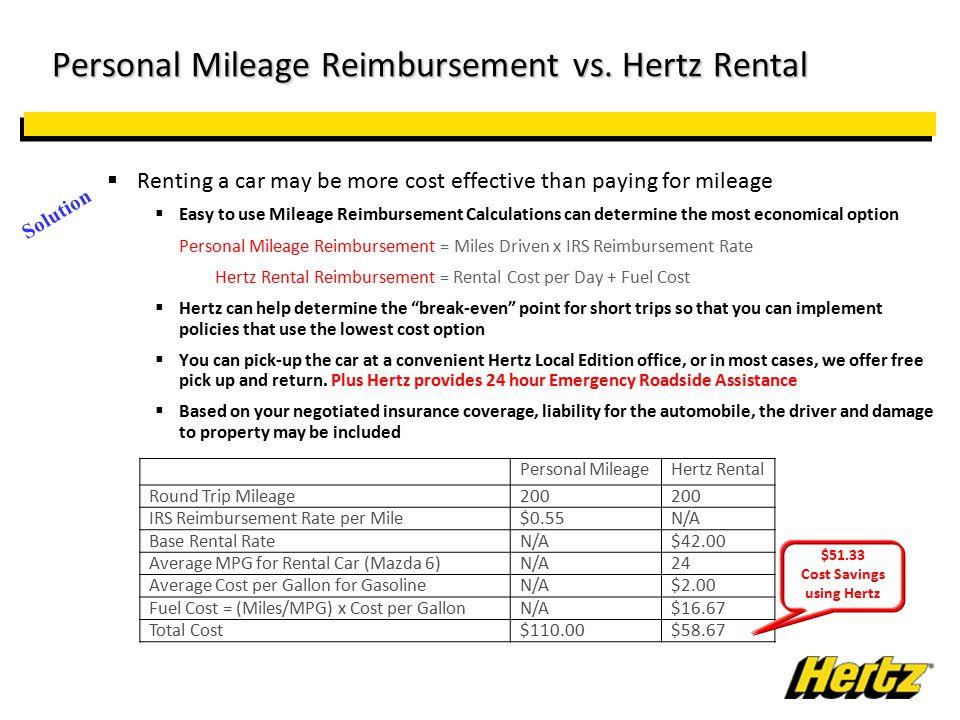 Personal Mileage Reimbursement vs. Hertz Rental Personal Mileage Reimbursement vs.
