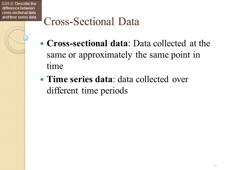1-7 Time Series Data LO1-4: Construct and interpret a time series (runs) plot.