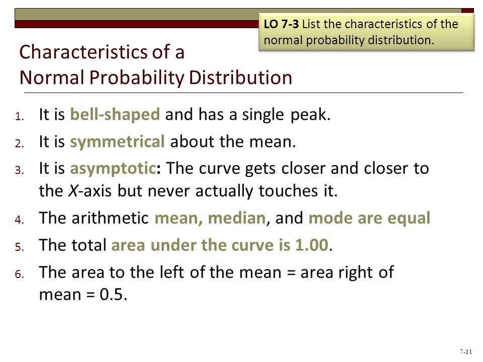 Characteristics of a Normal Probability Distribution 1. It is bell-shaped and has a single peak. 2. It is symmetrical about the mean. 3. It is asympto