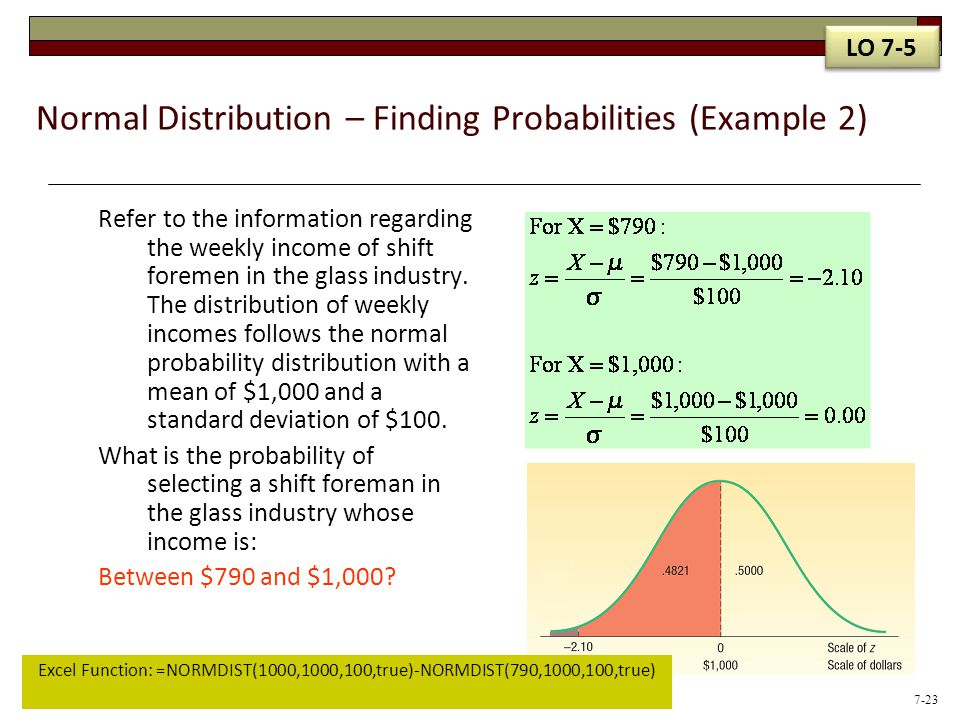 Normal Distribution – Finding Probabilities (Example 2) Refer to the information regarding the weekly income of shift foremen in the glass industry. T