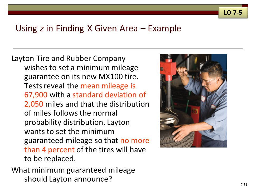 Using z in Finding X Given Area – Example Layton Tire and Rubber Company wishes to set a minimum mileage guarantee on its new MX100 tire. Tests reveal