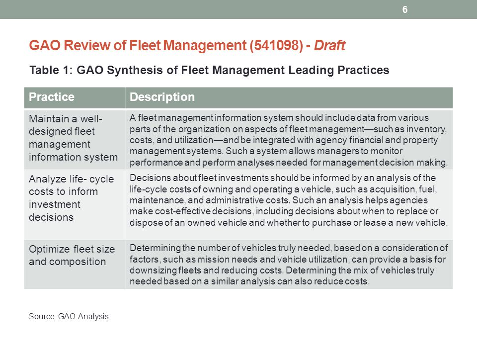 GAO Review of Fleet Management (541098) - Draft What They Found (cont'd): The selected agencies followed the leading practices to some extent; however, most selected agencies lacked: the data and system integration needed to support sound fleet decision making and oversight; were not fully analyzing lifecycle costs to make vehicle investment decisions; and had not always made clear the basis for their optimal fleet size and composition targets.