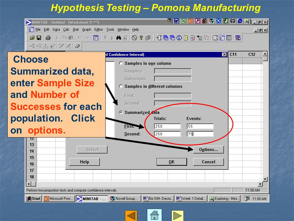 Choose Summarized data, enter Sample Size and Number of Successes for each population. Click on options. Hypothesis Testing – Pomona Manufacturing