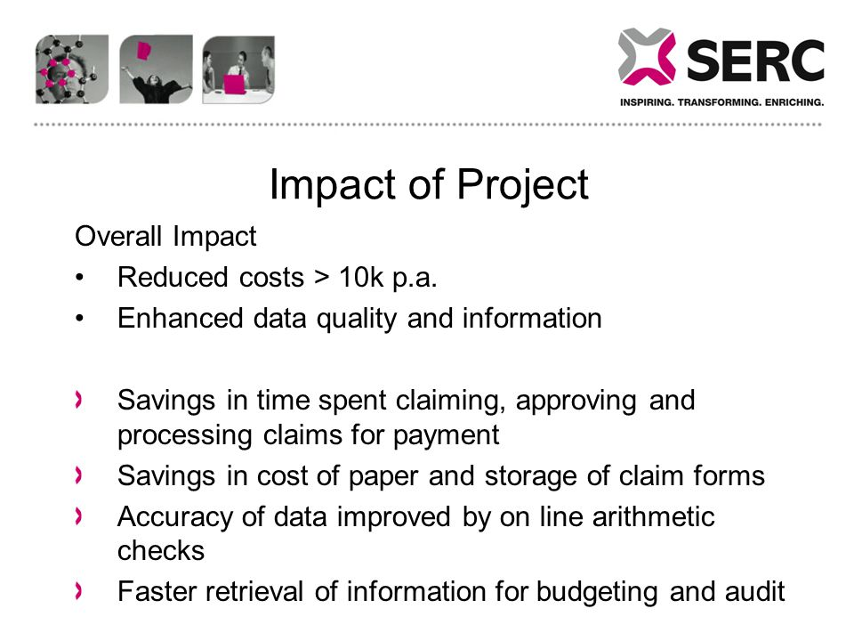 Impact of Project Overall Impact Reduced costs > 10k p.a.