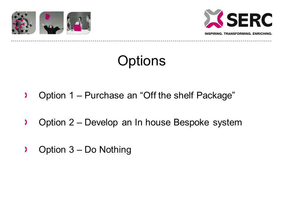 Options Option 1 – Purchase an Off the shelf Package Option 2 – Develop an In house Bespoke system Option 3 – Do Nothing