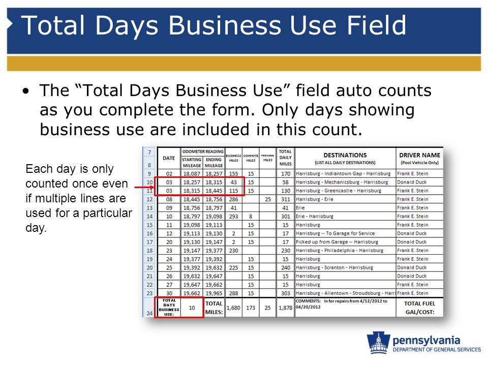 Total Days Business Use Field The Total Days Business Use field auto counts as you complete the form.