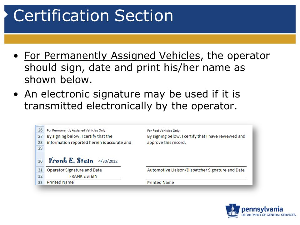 Certification Section For Permanently Assigned Vehicles, the operator should sign, date and print his/her name as shown below.